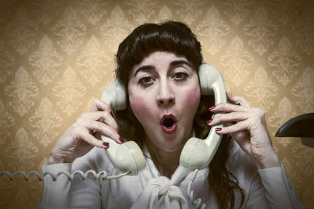 ambivalent: young Secretary screams by phone busy vintage