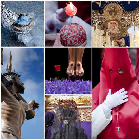 christian festival: Concept of holyweek in Spain, collage Stock Photo