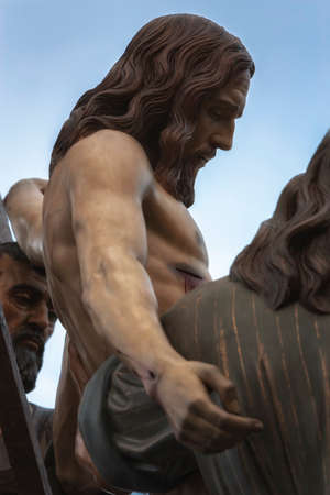 collectivity: Brotherhood of the Holy Christ of the descent, work of the Spanish sculptor Victor de los Rios, Linares, Jaen province, Andalusia, Spain Stock Photo