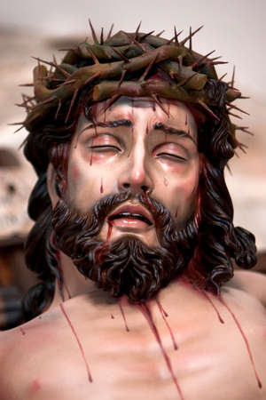 collectivity: Figure of Jesus on the cross carved in wood by the sculptor José Miguel Tirao Carpio, Cristo de las Lluvias, Mengibar, Jaen province, Spain