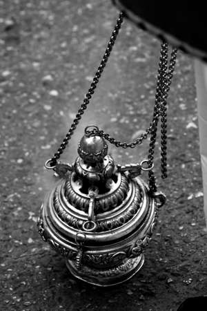 collectivity: Censer of silver or alpaca to burn incense in the holy week, Spain Stock Photo
