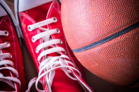 Sport sneakers and basket ball photo