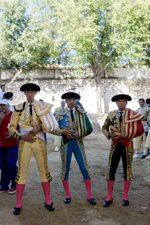 Baeza, Jaen province, SPAIN - 14 august 2014: Bullfighters Jimenez Fortes, Javier Castaño and Antonio Ferrera at the paseillo or initial parade Bullfight at Baeza bullring, Baeza, Jaen province, Andalusia, Spain