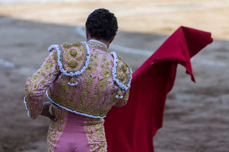 capote: Bullfighter with the capote or cape, Spain Stock Photo