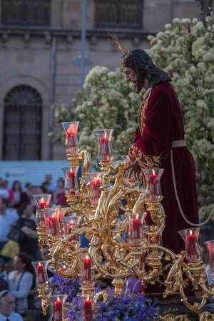 fraternidad: Hermandad de la estación de toma de ramillete de Jesús de la penitencia delante en el ayuntamiento, provincia de Linares, Jaén, Andalucía, España