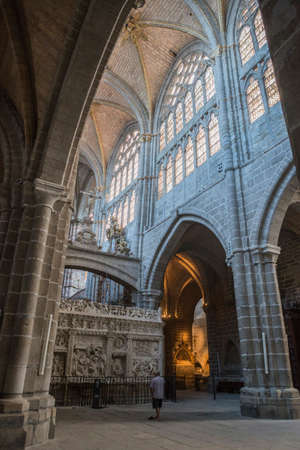theology: Avila, SPAIN - 10 august 2015: Inside view of the Cathedral in Avila, a Romanesque and Gothic church in the South of Old Castile in Spain, considered by its age 12th century as one of the first two Gothic cathedrals in Spain Editorial