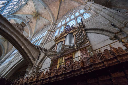 esthetics: Avila, SPAIN - 10 august 2015: Organ of the Cathedral of Avila, located on the north side of the Cathedral, it was built in the 19th century, the year 1828 by Leandro Garcimartn, of exceptional interest in its esthetics of transition between the Iberian B Editorial