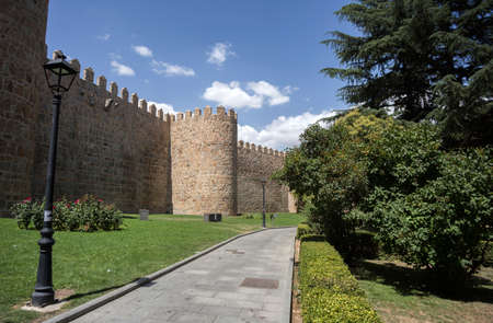 protects: Wonderful medieval outer wall that protects and surrounds the city of Avila, Spain