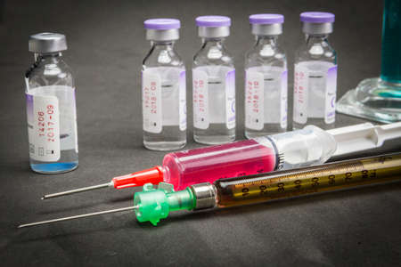 anesthetize: Medicine in vials and syringe
