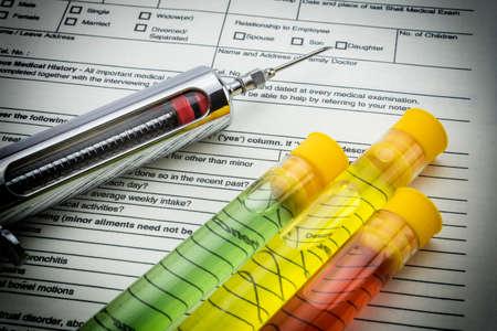 hypodermic syringes: Test medicine vials and syringe