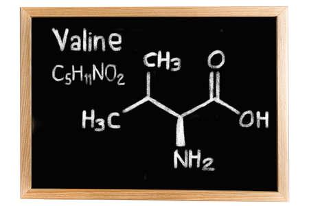 regeneration: Blackboard with the chemical formula of Valine