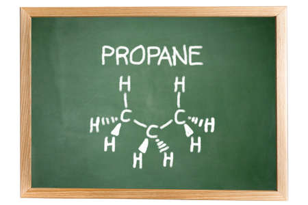 lpg: chemical formula of propane on a blackboard Stock Photo