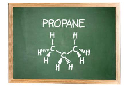 propane: chemical formula of propane on a blackboard Stock Photo