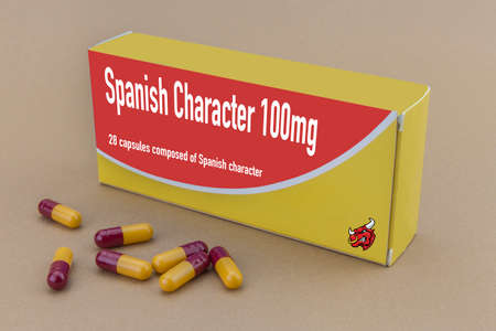 labelled: medicine packet labelled spanish character closed, its a medical fake product, isolated on brown Stock Photo