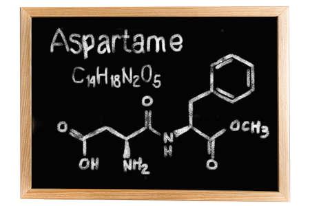 sweetener: Blackboard with the chemical formula of Aspartame