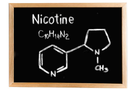 nicotine: Blackboard with the chemical formula of Nicotine