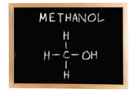 methanol: Blackboard with the chemical formula of Methanol
