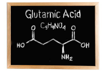glutamate: Blackboard with the chemical formula of Glutamic acid