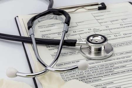 white glove: Stethoscope And white glove of latex, test medical examination