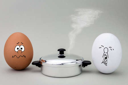 small group of objects: Two eggs look with strange face to a hot pot to be cooked