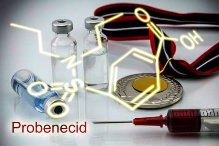 excretion: Chemical formula of probenecid, Probenecid is able to inhibit completely the renal excretion of certain drugs dope, Doping in sport concept