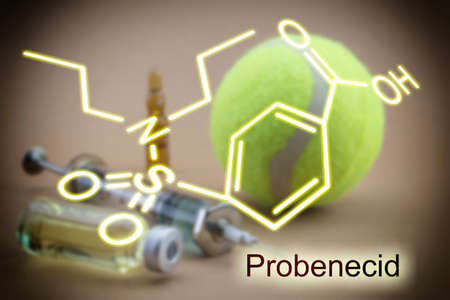 excretion: Tests for Research of urine along with a ball of tennis, Chemical formula of probenecid, Probenecid is able to inhibit completely the renal excretion of certain drugs dope, concept of doping in the sport Stock Photo