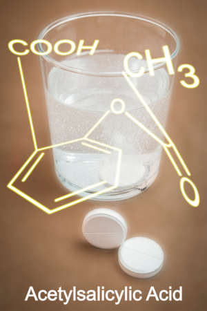 benzoic: Glass of water with acetylsalicylic acid, aspirin effervescent