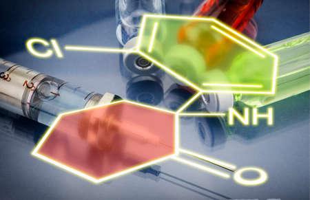 chemical formula: Injections and Syringe, Chemical formula Stock Photo