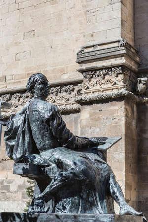 ade: Statue of Andres de Vandelvira presiding over the back façade of the cathedral of Jaen, Spain Editorial