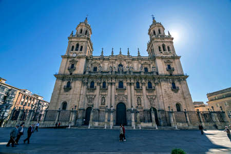 back light: Jaen - Spain, may 2016, 2: Front view of the Holy Church Cathedral of Jaen back light, also called Assumption of the Virgin Cathedral, Take in Jaen, Spain