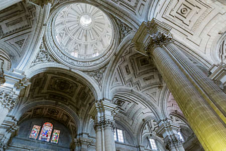 salazar: Jaen - Spain, may 2016, 2: Inside view of the Cathedral in Jaen, central dome of cruise, work of the architect Juan de Aranda and Salazar, it has a circumference adorned with twelve meters and a half of diameter in the drum and fifty meters high, take in