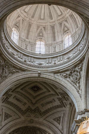 circumference: Jaen - Spain, may 2016, 2: Inside view of the Cathedral in Jaen, central dome of cruise, work of the architect Juan de Aranda and Salazar, it has a circumference adorned with twelve meters and a half of diameter in the drum and fifty meters high, take in