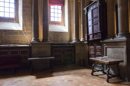 whose: Jaen, Spain - may 2016, 2: The choir is one of the largest in Spain since it consists of 148 seats, was completed in the 18th century, the stalls are of Walnut wood, under the choir are buried numerous bishops, whose tombs are marked by marble tombstones