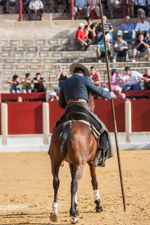 alvaro: Ubeda, SPAIN - September 29, 2011: Alvaro Montes, bullfighter on horseback spanish witch garrocha (blunt lance used on ranches), Ubeda, Jaen province, Andalusia, Spain