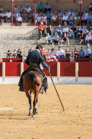 braveness: Ubeda, SPAIN - September 29, 2011: Alvaro Montes, bullfighter on horseback spanish witch garrocha (blunt lance used on ranches), Ubeda, Jaen province, Andalusia, Spain