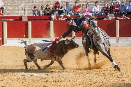 braveness: Ubeda, SPAIN - September 29, 2011: Alvaro Montes, bullfighter on horseback spanish, Ubeda, Jaen, Spain
