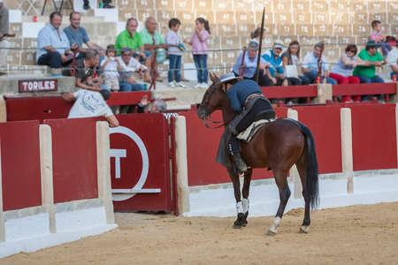 Ubeda, SPAIN - September 29, 2011: Alvaro Montes, bullfighter on horseback spanish witch garrocha (blunt lance used on ranches), Ubeda, Jaen province, Andalusia, Spain