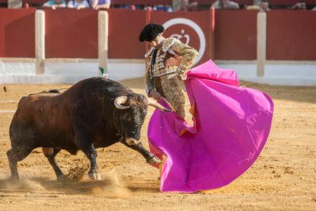 Ubeda, Spain - October 1, 2011: The Spanish Bullfighter El Cid bullfighting with the crutch in the Bullring of Ubeda, Spain