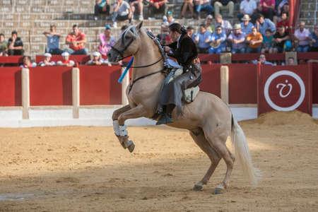 Ubeda, SPAIN - September 29, 2011: Noelia Mota, bullfighter on horseback spanish, Ubeda, Jaen, Spain