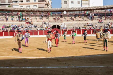 Ubeda, SPAIN - october 1, 2011: Spanish bullfighters at the paseillo or initial parade in Ubeda, Jaen province, Spain Editorial