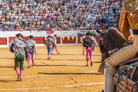 Ubeda, SPAIN - September 12, 2008: Spanish bullfighters at the paseillo or initial parade in Villacarrillo, Jaen province, Spain Editorial