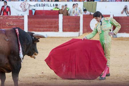 bullfighting: Andujar, Spain - September 12, 2008: The Spanish Bullfighter Sebastian Castella bullfighting with the crutch in the Bullring of Villacarrillo, Spain
