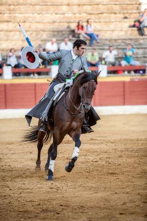 alvaro: Andujar, Spain - September 12, 2009: Alvaro Montes, bullfighter on horseback spanish, Ubeda, Jaen, Spain