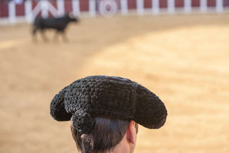 Ubeda, Spain - October 2, 2010: Detail of Pigtail, in the XIX century the bullfighters were left to grow a ponytail that braided in a bun called moña, vague recollection of the times of the wigs of the XVIII century, in the Bullring of Ubeda, Spain