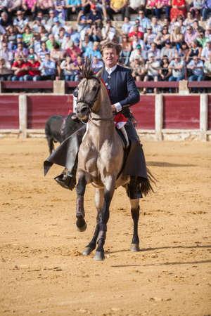 september 2: Ubeda, SPAIN - September 2, 2010: Fermin Bohorquez, bullfighter on horseback spanish, Ubeda, Jaen, Spain