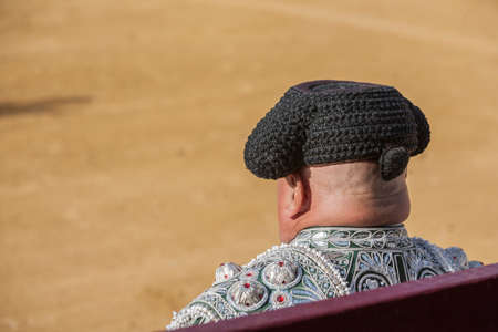 bullfighters: Ubeda, Spain - October 2, 2010: Detail of Pigtail, in the XIX century the bullfighters were left to grow a ponytail that braided in a bun called moña, vague recollection of the times of the wigs of the XVIII century, in the Bullring of Ubeda, Spain