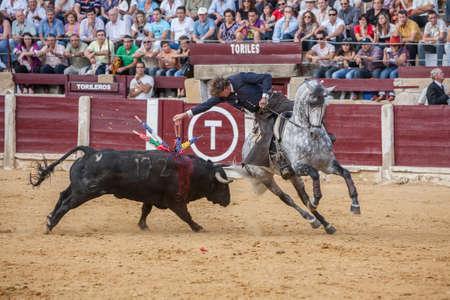 braveness: Ubeda, SPAIN - October 2, 2010: Fermin Bohorquez, bullfighter on horseback spanish, Ubeda, Jaen, Spain