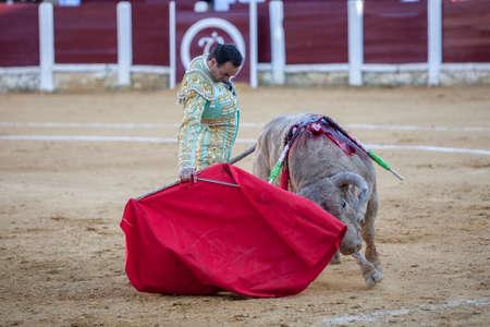 bullring: Ubeda, Spain - September 29, 2010: The Spanish Bullfighter El Cid bullfighting with the crutch in the Bullring of Ubeda, Spain