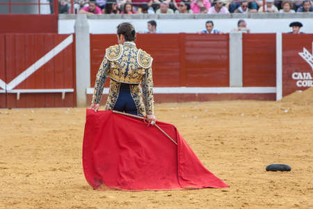 el fandi: Pozoblanco, Spain - September 23, 2011: The Spanish Bullfighter David Fandila El Fandi bullfighting with the crutch in the Bullring of Pozoblanco, Spain