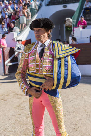bullfighter: Linares, SPAIN - August 29 2014: The Spanish Bullfighter Curro Diaz initiating the paseíllo in the bullring in Linares, Jaen province, Spain Editorial